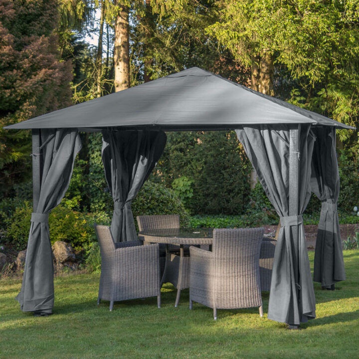 GAZEBO PROVENCE 3X3 MTR HEAVY DUTY GREY COMPLETE WITH GREY