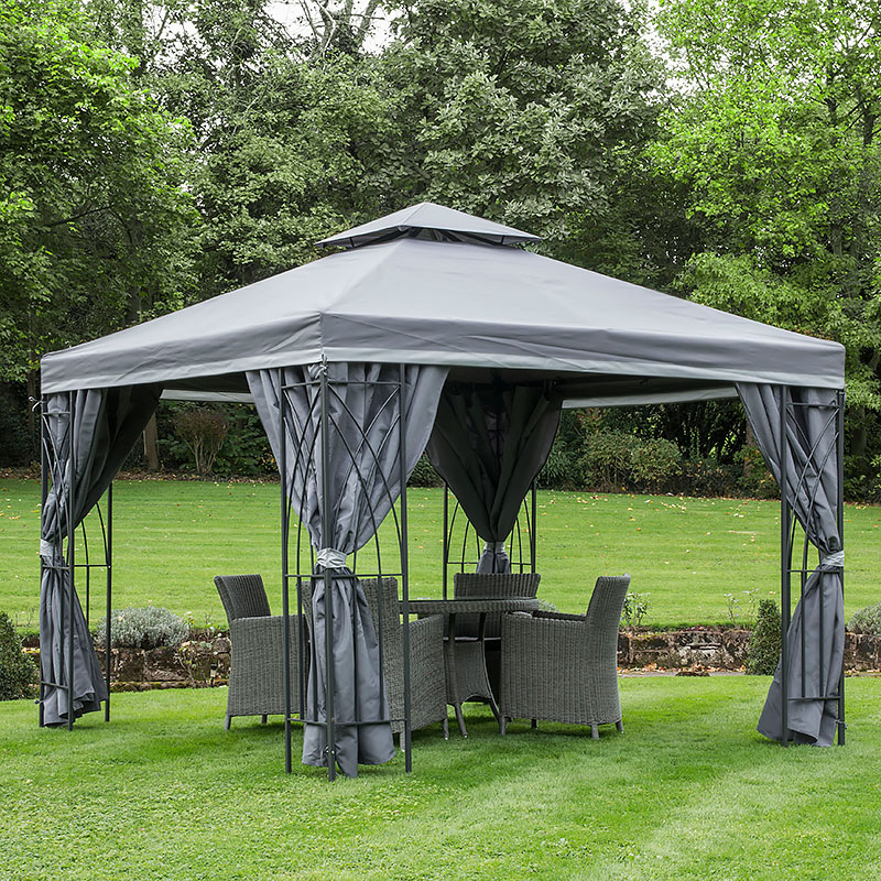 GAZEBO GARDEN GAZEBO 3X3 MTR GRAPHITE GREY FULLY