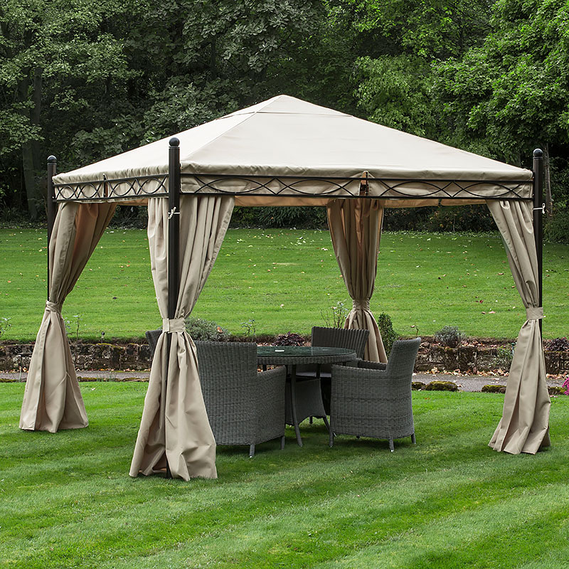 GAZEBO HEAVY DUTY 3X3MTR GARDEN GAZEBO BRONZE / CREAM